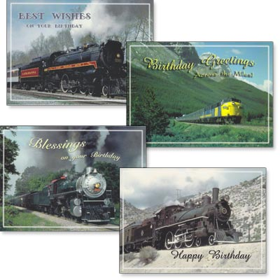 Birthday Cards - Trains - Set of 4